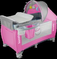 Манеж-кровать Lionelo Sven Plus, розовый с серым (LO.SV02)