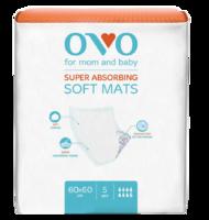 Одноразовые пеленки OVO для новорожденных, 60x60 см, 1500 мл, 5 шт.